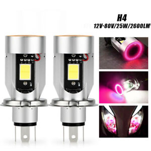 2X H4 HB2 9003 Motorcycle LED Headlight Kit Hi/Lo Bulb With Red Halo Angle Eyes