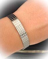 Bracelet Jonc ouvert Ciselé Acier Inoxydable 316L Ajustable Bijoux Femme