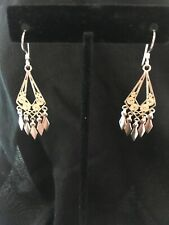Earrings Southwest Boho Bollywood Lace Filigree Sterling Silver Drop/dangle