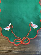 """Christmas With Geese Duck Decor Table Runner - Embroidered Green 70"""" x 12"""""""