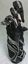 Mens Ping Golf Set Driver, Wood, Hybrid, Irons, Putter, Clubs Cart Bag Reg Flex