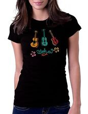 Ukulele Aloha Black T-Shirt Womens Tshirt Tee