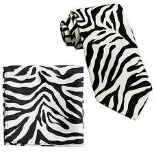 New Polyester Zebra Animal Print Formal Party formal Necktie Hankie black White