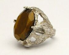 J and S Brown Cats Eye Solid Sterling Silver Gemstone Cocktail Ring 18x13mm