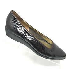 Bally Croc Embossed Wedge Brown Patent Leather Slip On Work Shoe Womens Size 9 N