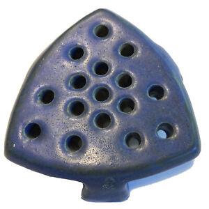 VTG Stamped Fulper Pottery Flower Frog Blue