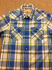men's HOLLISTER Medium, Blue Check Cowboy Western Long Sleeve Shirt. Superb