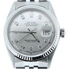 Rolex Datejust Mens Stainless Steel SS Watch Jubilee w/ Silver Diamond Dial 1601