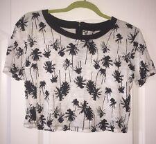 Xhileration Women's Crop Top - XS- Palm Trees- Black & White