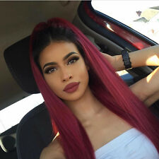 Hot Brazilian Straight Human Hair Wigs Ombre Burgundy Lace Front/Full Lace Wigs