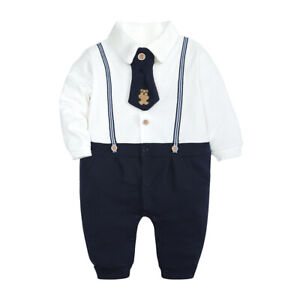 Baby Boys Christening Outfit 0-18 Months Wedding Birthday Party Cotton Suit