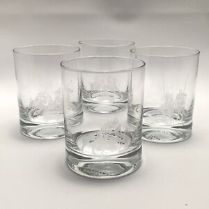 4 Ralph Lauren Polo Etched Double Old Fashioned Crystal Glasses