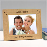 Personalised 1st 5th 10th Wedding Anniversary Photo Frame Gifts for Couples Him