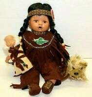 Porcelain Native American Indian Child Girl Doll With Baby & Dog Velvet Outfit
