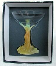 DAUM FRANCE SIGNED COUPELLE PATE DE VERRE MIMOSA RAISED CRYSTAL DISH