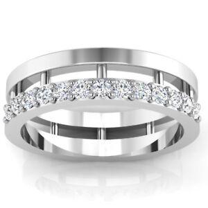 14K Echt Weißgold Herrenring 0.39 CT Natürlich Diamant Verlobung Band Größe V W