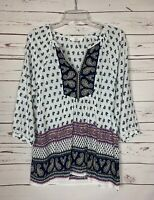 ENTRO Boutique White Navy Cute Boho Tunic Top Blouse Shirt Women's Size S Small
