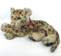 Steiff Leopard Lying US Zone Tag Mohair Plush 28cm 11in Glass Eyes 1953 Vintage