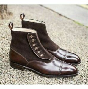 Mens Handmade Boots Two Tone Suede & Leather Buttons Ankle Casual Formal Shoes