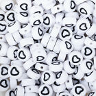 7mm Acrylic Heart Beads Outline Heart Beads Round beads 1.3mm hole 100pcs/bag