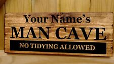 PERSONALISED NAME MAN CAVE  Door Sign Shed Garage Workshop Plaque Wood Fun Gift