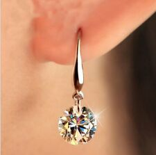 Wedding CZ Cubic Zirconia Stud Crystal Earrings Silver Ear Hook Prom Women Gift