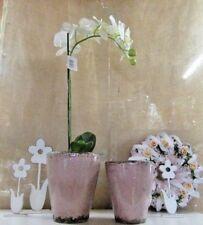 Pflanzgefäß ca. 20 cm hoch, altrosé, Vase  in CRAQUELÈE-Optik Shabby