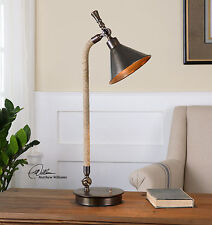 "NEW 28"" OXIDIZED BRONZE METAL INDUSTRIAL LOOK TABLE LAMP ROPE DETAIL DESK LIGHT"