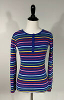 Hanna Andersson Shirt Top 160 14-16 Blue Purple Yellow Striped Long Sleeve