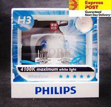 (PAIR) PHILIPS 12336 H3 12V 55W WHITE VISION 4100K WHITE LIGHT HALOGEN BULBS