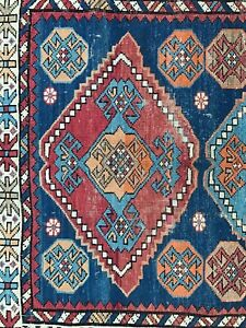 Antique Caucasian rug. All hand knotted wool Kazak, pre 1900 Distressed Kuba rug