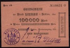 [16221]  - Notgeld LIEBAU (heute: Lubawka), Stadt, 100 Tsd Mk, Verfassungstag (=