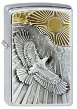 ZIPPO Feuerzeug EAGLE SUN FLY m. Emblem Brushed Chrome Zweifarbig Adler NEU OVP