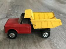 Vintage Pressed Steel Chevy Dump Truck Yellow And Red Japan