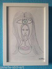 Raymond TRAMEAU Dessin Visages Surréalisme de 1960 Encadré très belle cotation++