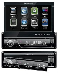 New Soundstream VIR-7830B 1 DIN DVD/CD/MP3 Player Flip-Out Up Screen Bluetooth