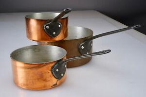Vintage TOURNUS France Copper Clad Pot Set x3 Cookware Set Aluminum