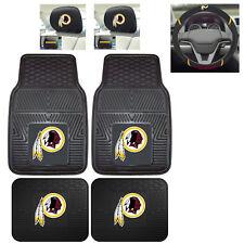 7pc NFL Washington Redskins Heavy Duty Rubber Floor Mats & Steering Wheel Cover