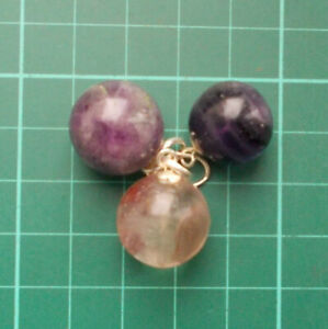 Auction 3 x Fluorite Polished Crystal Ball Pendants on Silver Plated Mount  Bail