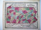 Colton 1859 Map Of Pennsylvania: Original Engraved Map; 16X14