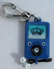 NWT Juicy Couture Blue MP3 Player Charm with Cord Ear Buds IPOD Music Silver