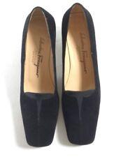 SALVATORE FERRAGAMO Shoes 8 AA Womens Suede Black CLASSIC Pumps Heels Italy