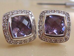 $1200 DAVID YURMAN,SS ALBION LAVENDER AMETHYST DIAMOND EARRINGS