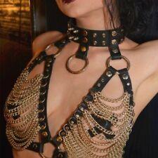 Leather Body Tassel Chest Neck Harness Belt Bra Chain Strap Corset Bustier BS40