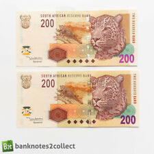 More details for south africa: 2 x 200 south african rand banknotes with consecutive serial numbe
