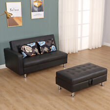 Convertible Adjustable 3-Position Futon Set Sofa Bed Couch Chaise Lounge with