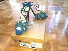 Christian Louboutin, Margi Diams 120mm blue high heeled sandals with crystals