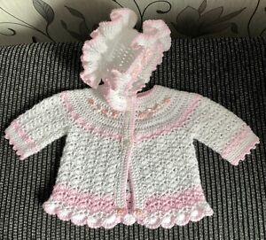 Hand Crochet Matinee Jacket & Bonnet