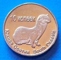 South Ossetia 10 Kopeek 2013 UNC Weasel unusual coinage
