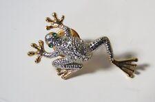 Silver & Gold Toned Metal Frog Pin Back Brooch w/ Green Rhinestone Eyes
